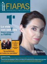 Portada del número 170 de la Revista FIAPAS en la que destaca la imagen de una mujer con un audífono en su oreja derecha y que es la imagen de la campaña de FIAPAS