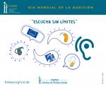 """La imagen presenta un audífono, un implante coclear, un collar fm y los símbolos de accesibilidad audiovisual con el lema """"Escucha sin límites"""""""