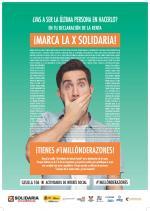 imagen de la campaña de la X solidaria que presenta un chico tapándose la boca en señal de vergüenza
